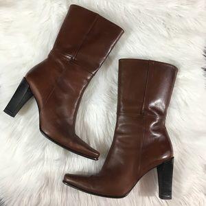 Stuart Weitzman brown leather heeled boots